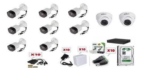 Kit De 10 Cámaras Dahua 1080p Full Hd + Dvr 16ch+ Dd 2tb