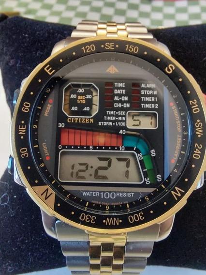 Relógio Citizen Windsurf D060 Sério Ouro Original