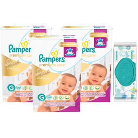 Kit Fralda Pampers Premium Care G 60 + Toalhinhas Sensitive