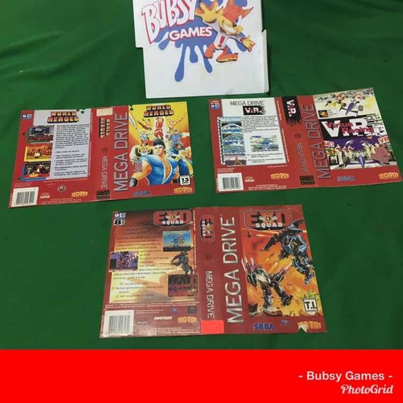 Encartes Mega Drive Originais _world Heroes+exo Squad.(unida