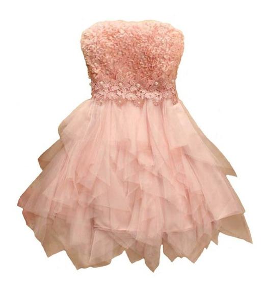 Vestido Corto 15 Años Fiesta Rosa