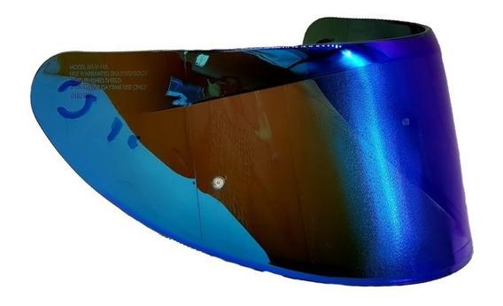 Viseira Revo V18b Azul Rainbow Para Capacete Axxis