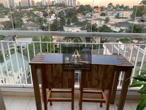 Alphaville Empresarial. Apartamento Mobiliado Com Sala Estendida. E Vista Para O Alpha Plus. - Ap2556