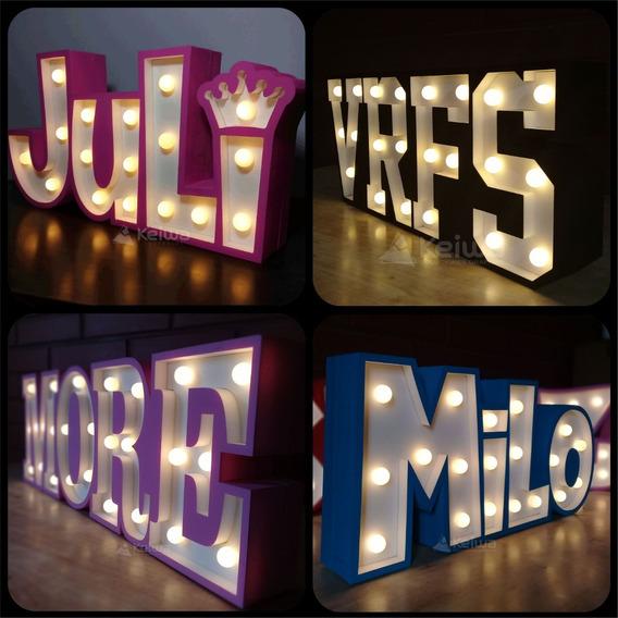 Nombre Cartel Luminoso 4 Letras Led Polifan Eventos Candybar