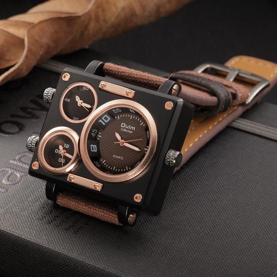 Relógio Masculino Oulm Big Xxl Olum Nylon Quadrado Couro