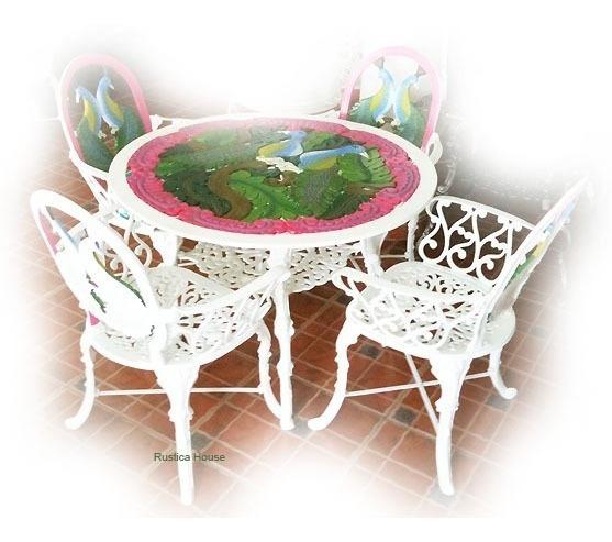 Comedor De Aluminio 4 Sillas Y 1 Mesa De Jardin - Pavorreal