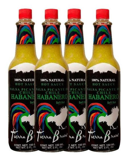 Tierra Brava, Salsa Habanero Verde , 4 Piezas (16 Oz.)