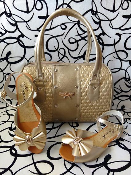 Combo Sandalia Calzado Colombiano Bolso Dorado Envío Gratis