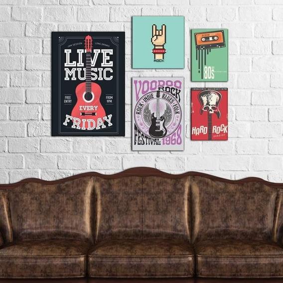 Kit 5 Placas Quadros Decorativos Conjunto Música Rock Retrô