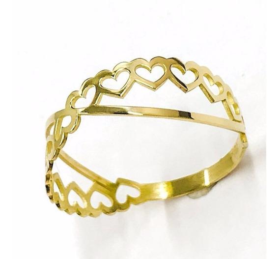 Anel Ouro 18k Coração Com Detalhe Noivado Namorado Debutante