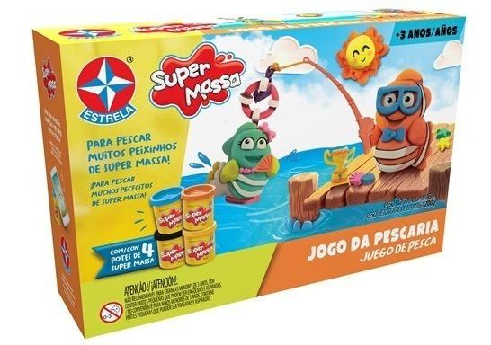 Massinha De Modelar Super Massa Jogo Da Pescaria C/ 4 Potes