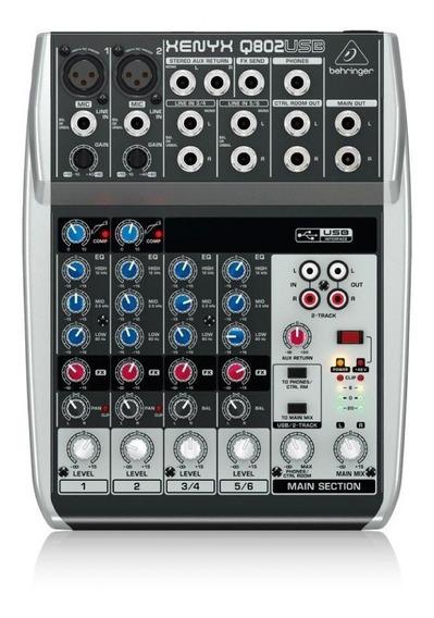 Mesa De Som Behringer Q802usb Com 8-input E 2-bus Mixer
