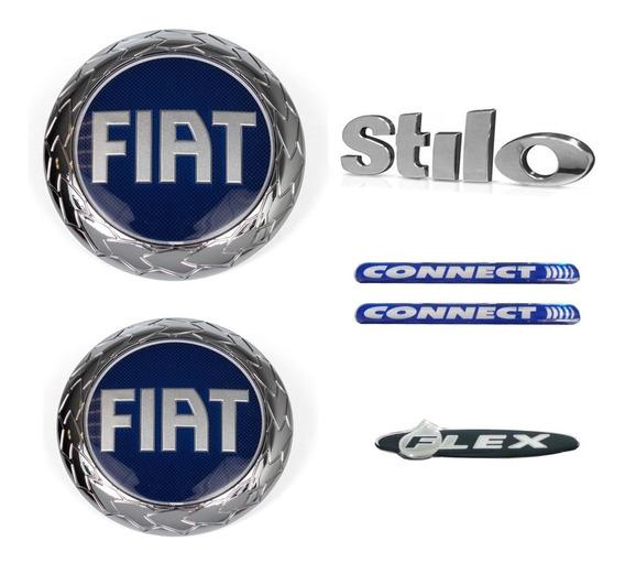 Jogo De Emblemas Fiat Stilo Connect Flex Grade E Mala Azul