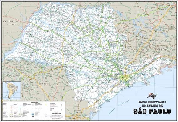 Mapa Político Rodoviário São Paulo 60x90cm Para Decorar Sala