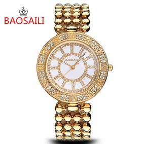Relógio Dourado Baosaili No Estojo Novo Frete Grátis Brasíl