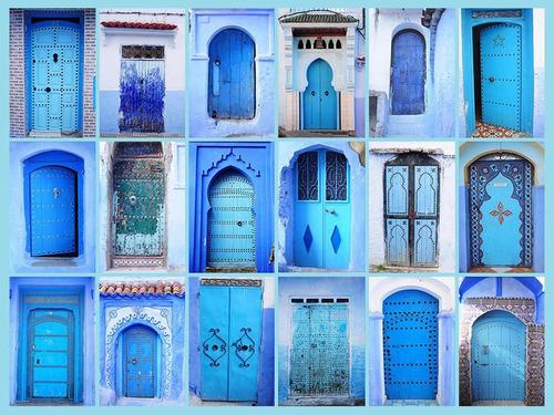 Imagen 1 de 4 de Lienzo Tela Puertas Turquesas Vintage 74 X 100 Cm