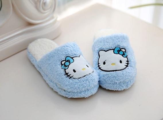 Pantufa Chinelo Pelúcia Hello Kitty Azul Tamanho 34