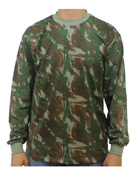 Camiseta Camuflada Manga Longa Uniforme Exército