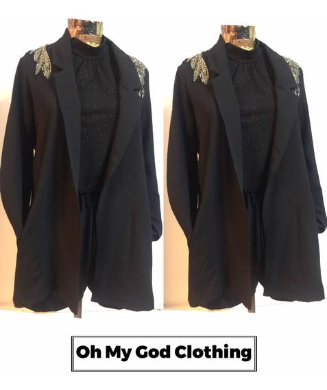 Blazer Saco Largo Mujer Con Apliques Hombros Noche Vestir