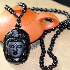 Colar Budista Com Pingente Corrente Em Pedra Obsidiana Buda