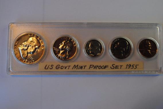1955 Moneda Plata Proof Americano Eeuu Acabado Espejo