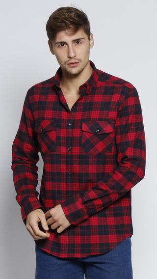 Camisa Classic Xadrez Vermelha E Preta Vide Bula