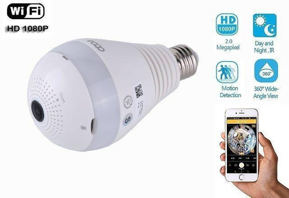 Camera Lampada Led Wifi Ip Panoramica 360 Espiã