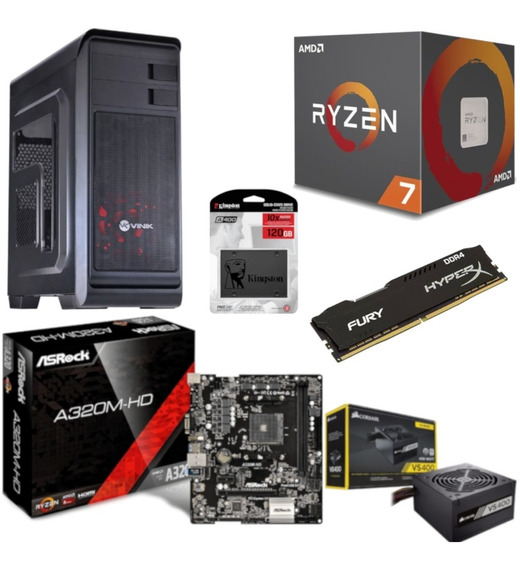 Pc Hunter Ryzen R7 2700 A320m Hd Hx 4gb Vs400 Ssd 120gb