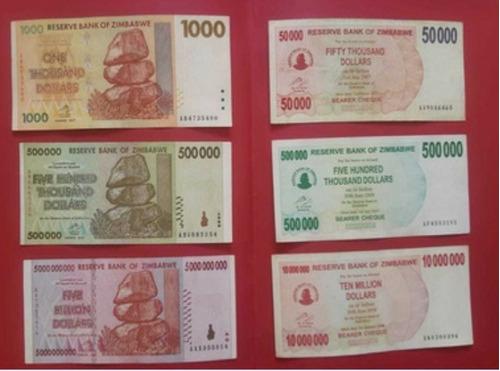 Colección De 6 Billetes De Zimbabwe. Usados, Buen Estado.