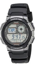Relógio Casio World Time Ae-1000w-1bvcf Bateria Dura 10 Anos
