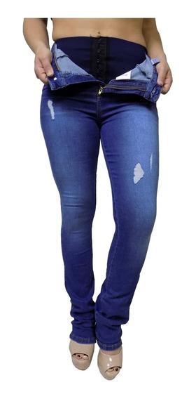 Calça Jeans Feminina Sawary Flare Com Puído Cinta Modeladora