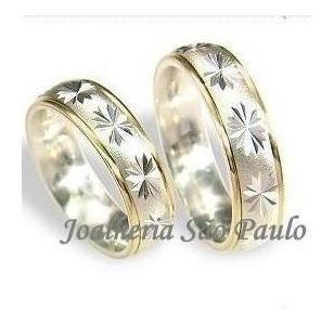Par De Alianças De Prata 950 Com 2 Filetes De Ouro 18k