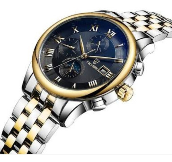 Relógio Tevise 9008g - Preto E Dourado