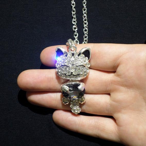 Colar Gatinho 3d Com Cristal E Strass Gato Prateado Cordão