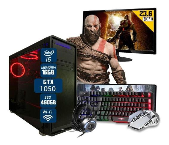 Pc Gamer Completo I5 6ºger Gtx1050 16gb Ssd480gb Monit 23.6