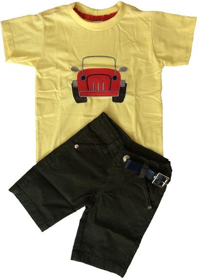 Camiseta Infantil Menino Manga Curta Com Estampa + Shorts