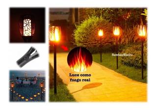 Antorcha Led Solar Ilumina Jardín Efecto Fuego Real
