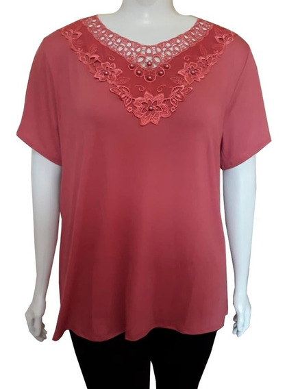 Blusa Camiseta Feminina Plus Size Grande Veste 54 Ao 60