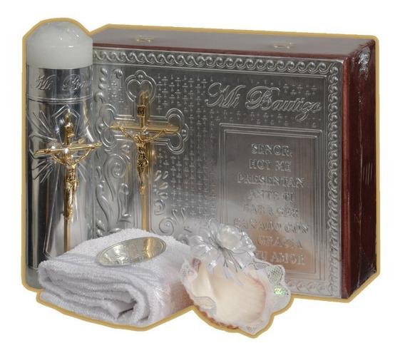 Bzm Kit Bautizo Caja Madera Crucifijo Cristo Cirio Toalla