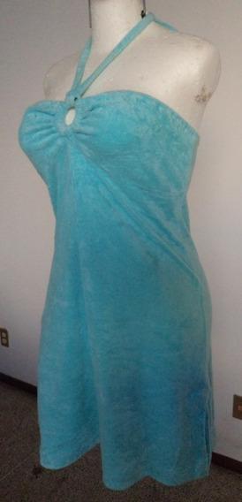 Vestido Azul Tipo Halter Tela Afelpada Talla M Clave Vt299