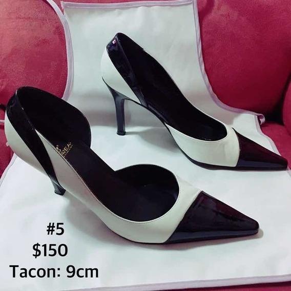 Zapato Para Mujer Bicolor Blanco Y Negro Tacón Marca Andra