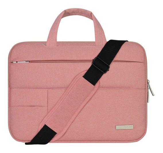 Bolso Maletín Para Laptop Macbook 14 Y 15 Pulgadas Rosa