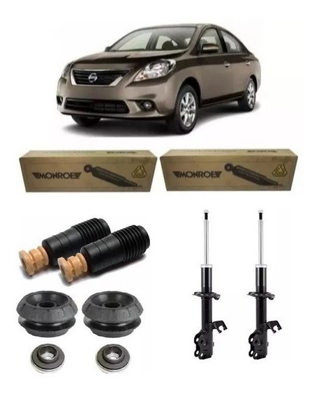 Par Amortecedor Monroe + Kits Dianteiro Nissan Versa