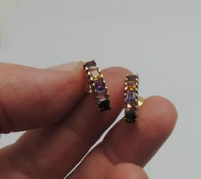 Brincos De Ouro 18k 750 Com Pedras Semi Preciosas