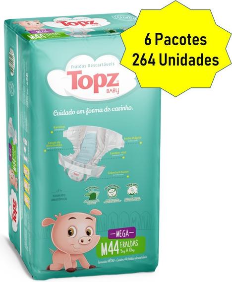 Kit Fralda Topz Baby Descartável Mega Pacotão Tam M 264 Unid