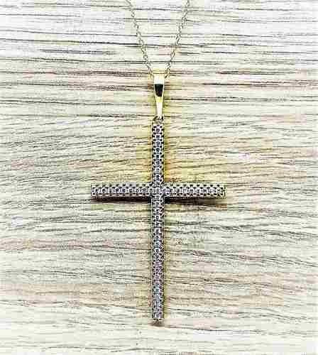 Cordão Com Crucifixo De Prata Com Zirconias Banho Ouro 1665