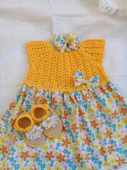 Vestido Tejido Para Bebe Con Tela