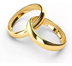 Par Aliança Banhada A Ouro 18k Casamento 4mm Promoçao