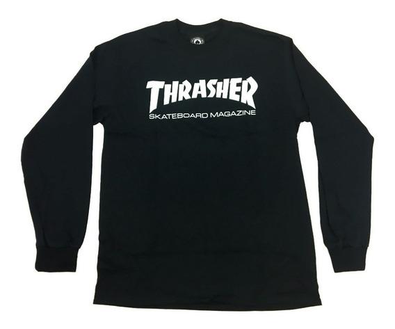 Playera Thrasher Skate Mag Longsleeve Black