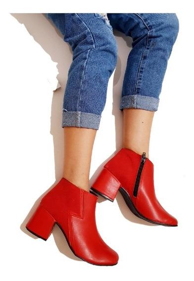 Botas Botinetas Zapato Mujer Taco Eco Cuero